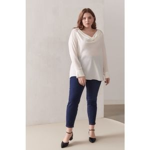 Addition Elle Draped Blouse With Lace Yoke